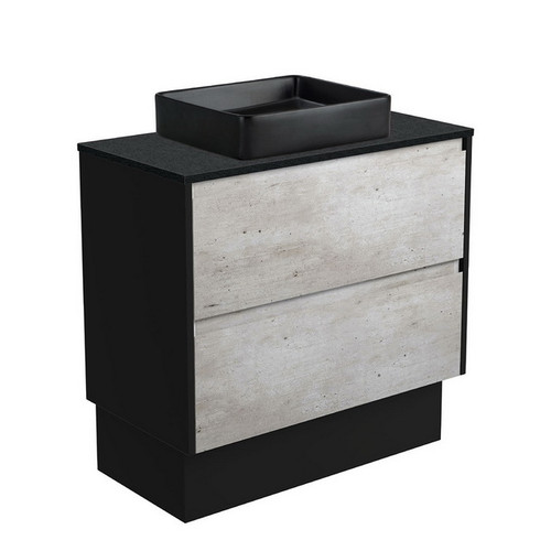 Luciana 900 Black Sparkle Above Counter Basin + Amato Industrial Cabinet on Kick Board with Satin Black Solid Side Panels 2 Drawer 1 Tap Hole [191616]