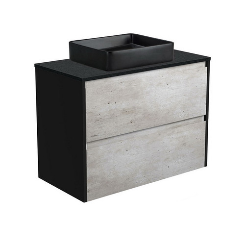 Luciana 900 Black Sparkle Above Counter Basin + Amato Industrial Cabinet Wall-Hung with Satin Black Solid Side Panels 2 Drawer 1 Tap Hole [191617]