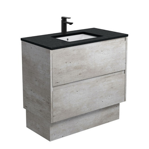 Sarah Black Sparkle Undermount 900 Amato Industrial Cabinet with Solid Side Panels on Kick Board 2 Drawer 1 Tap Hole [191618]