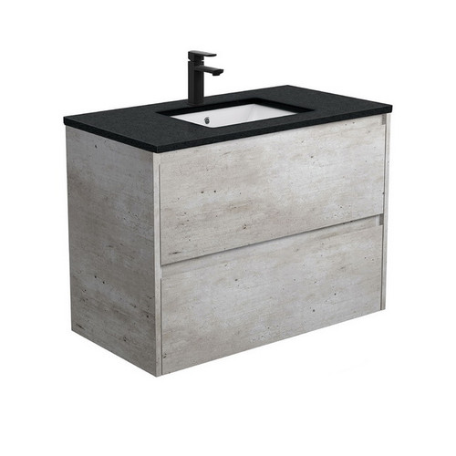 Sarah Black Sparkle Undermount 900 Amato Industrial Cabinet with Solid Side Panels Wall-Hung 2 Drawer 1 Tap Hole [191619]