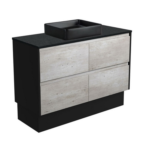 Luciana 1200 Black Sparkle Above Counter Basin + Amato Industrial Cabinet on Kick Board with Satin Black Solid Side Panels 4 Drawer 1 Tap Hole [191620]