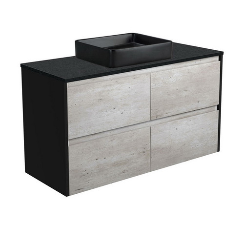 Luciana 1200 Black Sparkle Above Counter Basin + Amato Industrial Cabinet Wall-Hung with Satin Black Solid Side Panels 4 Drawer 1 Tap Hole [191621]