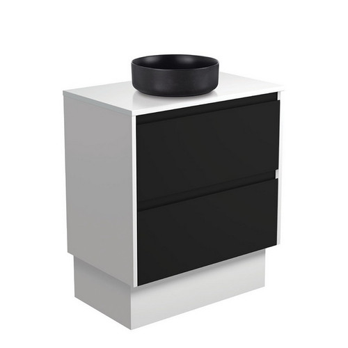 Reba 750 Matte Black Above Counter Basin + Crystal Pure Stone Top + Amato Satin Black Cabinet on Kick Board with Satin White Solid Side Panels 2 Drawer 1 Tap Hole [191663]