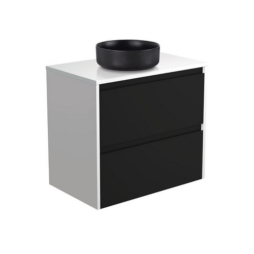 Reba 750 Matte Black Above Counter Basin + Crystal Pure Stone Top + Amato Satin Black Cabinet Wall-Hung with Satin White Solid Side Panels 2 Drawer 1 Tap Hole [191664]