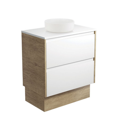 Reba 750 Matte White Above Counter Basin + Crystal Pure Stone Top + Amato Satin White Cabinet on Kick Board with Scandi Oak Solid Side Panels 2 Drawer 1 Tap Hole [191665]