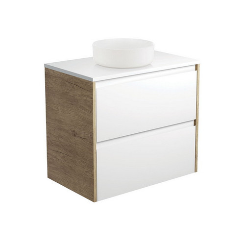 Reba 750 Matte White Above Counter Basin + Crystal Pure Stone Top + Amato Satin White Cabinet Wall-Hung with Scandi Oak Solid Side Panels 2 Drawer 1 Tap Hole [191666]