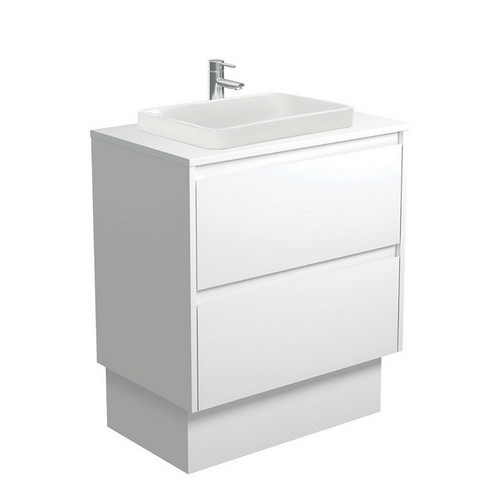 Sarah Crystal Pure 750 Semi-Inset Basin-Top + Amato Satin White Cabinet with Solid Side Panels on Kick Board 2 Drawer 1 Tap Hole [191667]