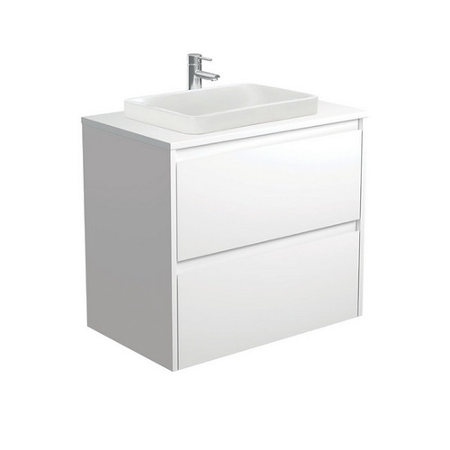 Sarah Crystal Pure 750 Semi-Inset Basin-Top + Amato Satin White Cabinet with Solid Side Panels Wall-Hung 2 Drawer 1 Tap Hole [191668]