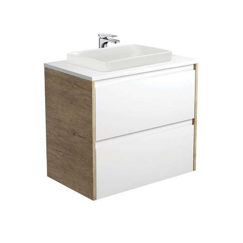 Sarah Crystal Pure 750 Semi-Inset Basin-Top + Amato Satin White Cabinet Wall-Hung with Scandi Oak Solid Side Panels 2 Drawer 1 Tap Hole [191670]