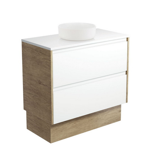 Reba 900 Matte White Above Counter Basin + Crystal Pure Stone Top + Amato Satin White Cabinet on Kick Board with Scandi Oak Solid Side Panels 2 Drawer 1 Tap Hole [191673]