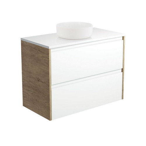 Reba 900 Matte White Above Counter Basin + Crystal Pure Stone Top + Amato Satin White Cabinet Wall-Hung with Scandi Oak Solid Side Panels 2 Drawer 1 Tap Hole [191674]