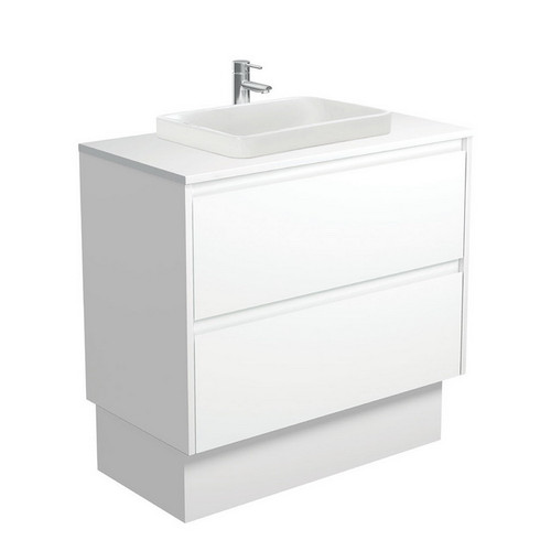 Sarah Crystal Pure 900 Semi-Inset Basin-Top + Amato Satin White Cabinet with Solid Side Panels on Kick Board 2 Drawer 1 Tap Hole [191675]