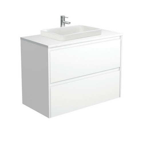 Sarah Crystal Pure 900 Semi-Inset Basin-Top + Amato Satin White Cabinet with Solid Side Panels Wall-Hung 2 Drawer 1 Tap Hole [191676]
