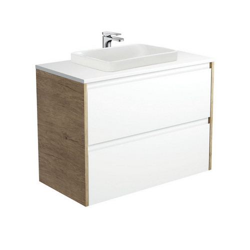 Sarah Crystal Pure 900 Semi-Inset Basin-Top + Amato Satin White Cabinet Wall-Hung with Scandi Oak Solid Side Panels 2 Drawer 1 Tap Hole [191678]