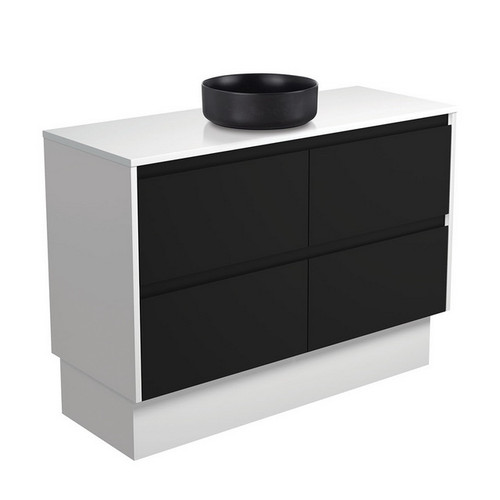 Reba 1200 Matte Black Above Counter Basin + Crystal Pure Stone Top + Amato Satin Black Cabinet on Kick Board with Satin White Solid Side Panels 4 Drawer 1 Tap Hole [191679]
