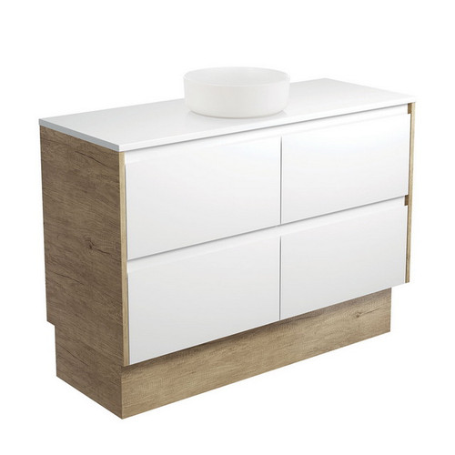 Reba 1200 Matte White Above Counter Basin + Crystal Pure Stone Top + Amato Satin White Cabinet on Kick Board with Scandi Oak Solid Side Panels 4 Drawer 1 Tap Hole [191681]