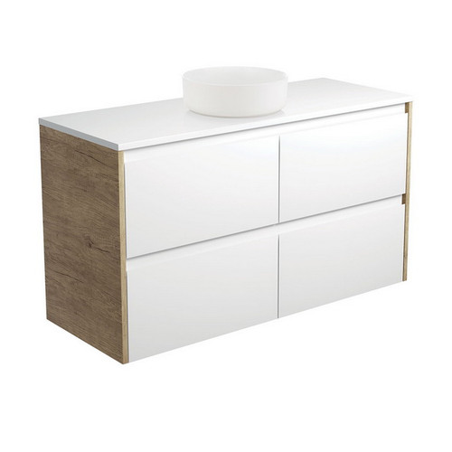 Reba 1200 Matte White Above Counter Basin + Crystal Pure Stone Top + Amato Satin White Cabinet Wall-Hung with Scandi Oak Solid Side Panels 4 Drawer 1 Tap Hole [191682]