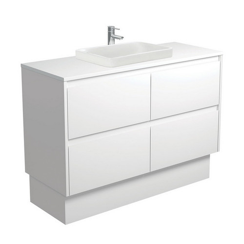 Sarah Crystal Pure 1200 Semi-Inset Basin-Top + Amato Satin White Cabinet with Solid Side Panels on Kick Board 4 Drawer 1 Tap Hole [191683]