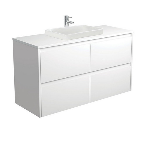 Sarah Crystal Pure 1200 Semi-Inset Basin-Top + Amato Satin White Cabinet with Solid Side Panels Wall-Hung 4 Drawer 1 Tap Hole [191684]