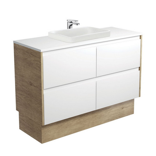 Sarah Crystal Pure 1200 Semi-Inset Basin-Top + Amato Satin White Cabinet on Kick Board with Scandi Oak Solid Side Panels 4 Drawer 1 Tap Hole [191685]