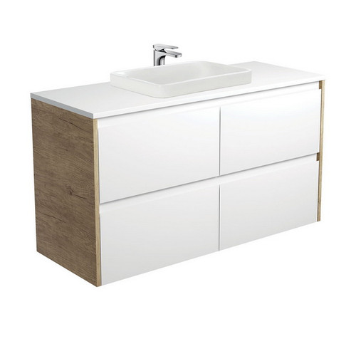 Sarah Crystal Pure 1200 Semi-Inset Basin-Top + Amato Satin White Cabinet Wall-Hung with Scandi Oak Solid Side Panels 4 Drawer 1 Tap Hole [191686]