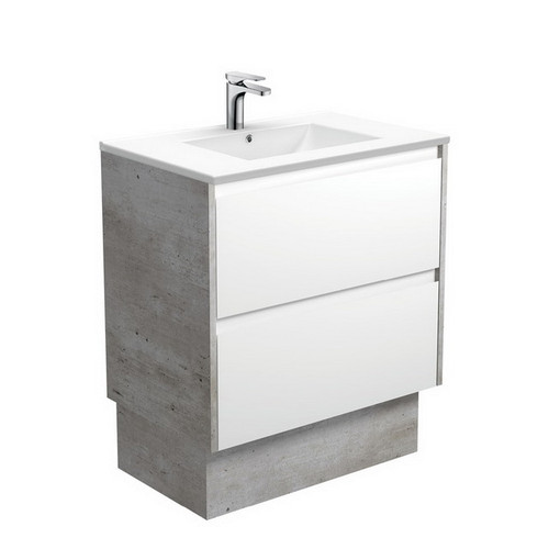 Dolce 750 Ceramic Moulded Basin-Top + Amato Satin White Cabinet on Kick Board with Industrial Solid Side Panels 2 Drawer 1 Tap Hole [191687]