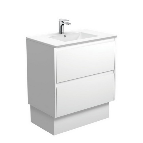 Dolce 750 Ceramic Moulded Basin-Top + Amato Satin White Cabinet with Solid Side Panels on Kick Board 2 Drawer 1 Tap Hole [191689]