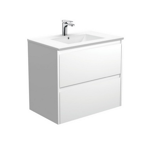 Dolce 750 Ceramic Moulded Basin-Top + Amato Satin White Cabinet with Solid Side Panels Wall-Hung 2 Drawer 1 Tap Hole [191690]