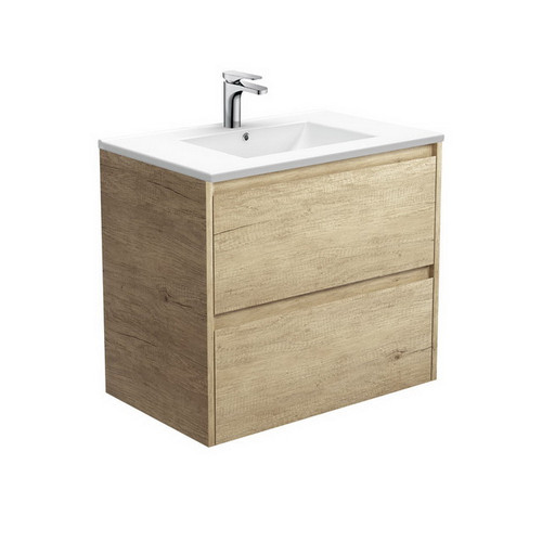 Dolce 750 Ceramic Moulded Basin-Top + Amato Scandi Oak Cabinet with Solid Side Panels Wall-Hung 2 Drawer 1 Tap Hole [191692]