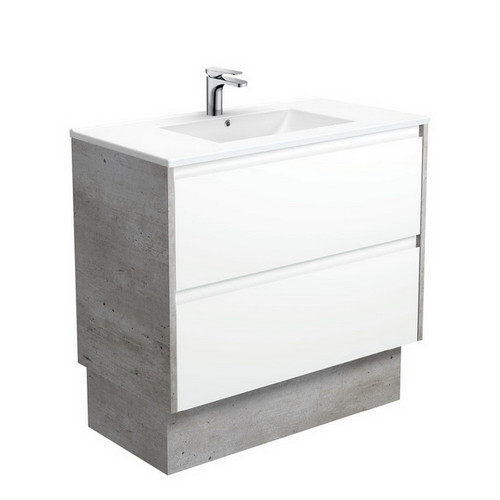 Dolce 900 Ceramic Moulded Basin-Top + Amato Satin White Cabinet on Kick Board with Industrial Solid Side Panels 2 Drawer 1 Tap Hole [191693]