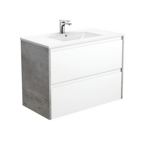Dolce 900 Ceramic Moulded Basin-Top + Amato Satin White Cabinet Wall-Hung with Industrial Solid Side Panels 2 Drawer 1 Tap Hole [191694]