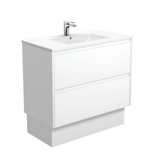 Dolce 900 Ceramic Moulded Basin-Top + Amato Satin White Cabinet with Solid Side Panels on Kick Board 2 Drawer 1 Tap Hole [191695]