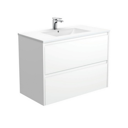 Dolce 900 Ceramic Moulded Basin-Top + Amato Satin White Cabinet with Solid Side Panels Wall-Hung 2 Drawer 1 Tap Hole [191696]