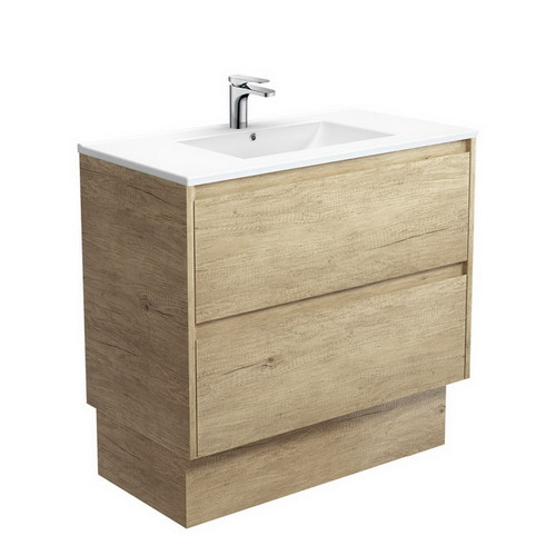 Dolce 900 Ceramic Moulded Basin-Top + Amato Scandi Oak Cabinet with Solid Side Panels on Kick Board 2 Drawer 1 Tap Hole [191697]