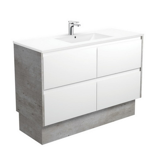 Dolce 1200 Ceramic Moulded Basin-Top + Amato Satin White Cabinet on Kick Board with Industrial Solid Side Panels 4 Drawer 1 Tap Hole [191699]