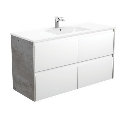 Dolce 1200 Ceramic Moulded Basin-Top + Amato Satin White Cabinet Wall-Hung with Industrial Solid Side Panels 4 Drawer 1 Tap Hole [191700]
