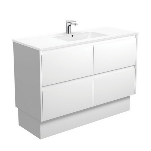 Dolce 1200 Ceramic Moulded Basin-Top + Amato Satin White Cabinet with Solid Side Panels on Kick Board 4 Drawer 1 Tap Hole [191701]