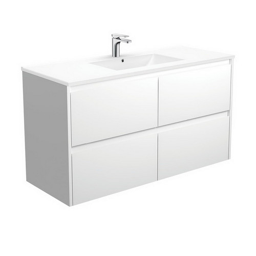 Dolce 1200 Ceramic Moulded Basin-Top + Amato Satin White Cabinet Wall-Hung with Solid Panels 4 Drawer 1 Tap Hole [191702]