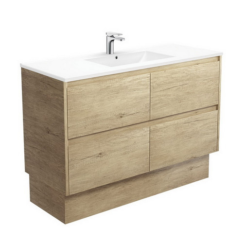 Dolce 1200 Ceramic Moulded Basin-Top + Amato Scandi Oak Cabinet with Solid Side Panels on Kick Board 4 Drawer 1 Tap Hole [191703]