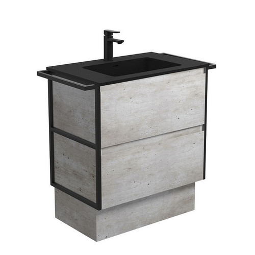 Montana 750 Solid Surface Moulded Basin-Top + Amato Industrial Cabinet on Kick Board with Twin Towel Rails 2 Drawer 1 Tap Hole [191705]