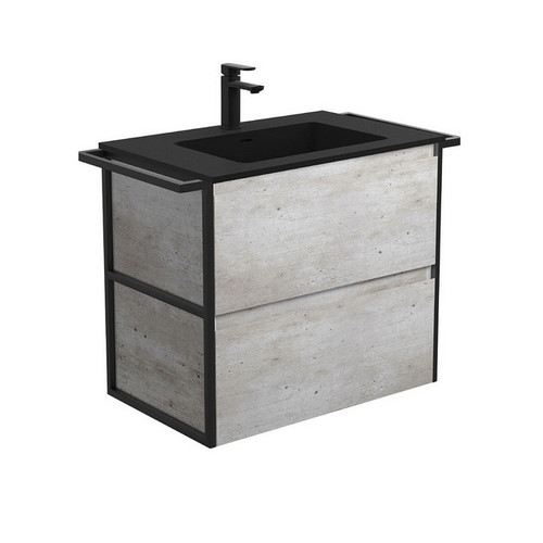 Montana 750 Solid Surface Moulded Basin-Top + Amato Industrial Cabinet Wall-Hung with Twin Towel Rails 2 Drawer 1 Tap Hole [191706]