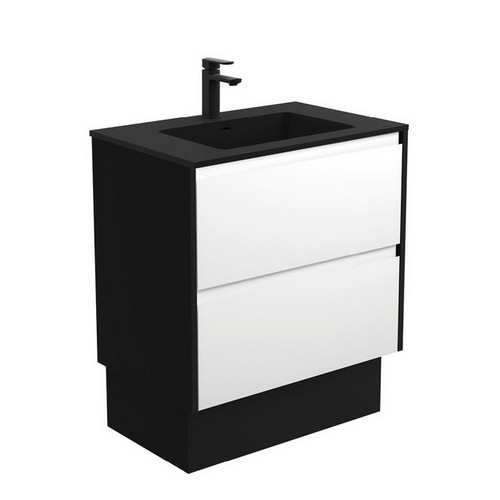 Montana 750 Solid Surface Moulded Basin-Top + Amato Satin White Cabinet on Kick Board with Satin Black Solid Side Panels 2 Drawer 1 Tap Hole [191707]