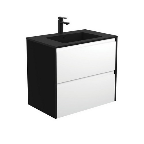 Montana 750 Solid Surface Moulded Basin-Top + Amato Satin White Cabinet Wall-Hung with Satin Black Solid Side Panels 2 Drawer 1 Tap Hole [191708]