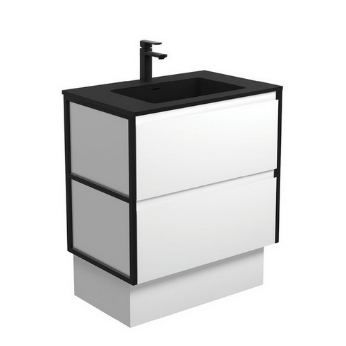 Montana 750 Solid Surface Moulded Basin-Top + Amato Satin White Cabinet on Kick Board with Matte Black Frames 2 Drawer 1 Tap Hole [191709]