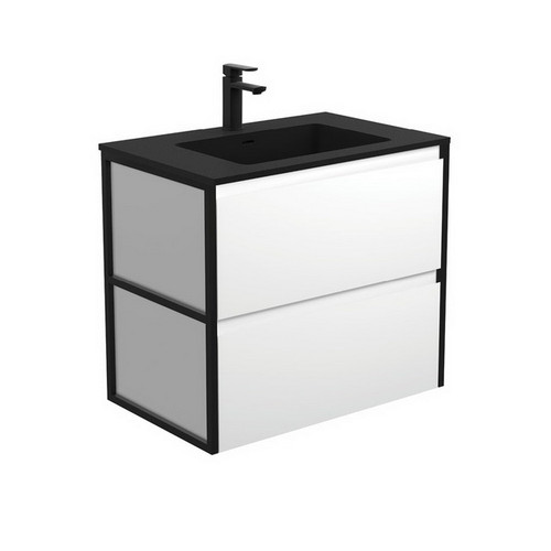 Montana 750 Solid Surface Moulded Basin-Top + Amato Satin White Cabinet with Matte Black Frames 2 Drawer 1 Tap Hole [191710]