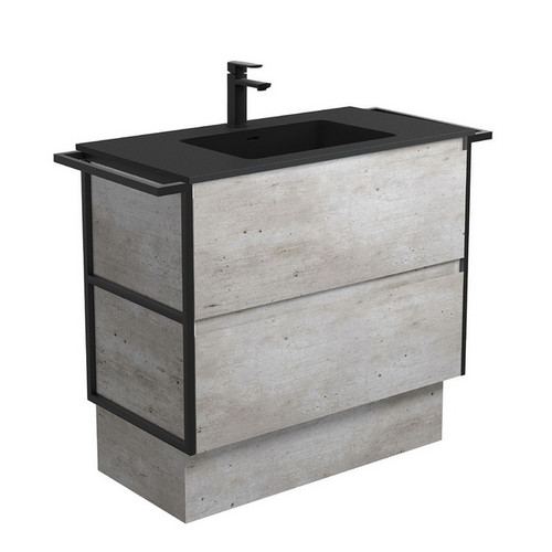 Montana 900 Solid Surface Moulded Basin-Top + Amato Industrial Cabinet on Kick Board with Twin Towel Rails 2 Drawer 1 Tap Hole [191711]