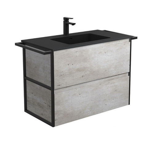 Montana 900 Solid Surface Moulded Basin-Top + Amato Industrial Cabinet Wall-Hung with Twin Towel Rails 2 Drawer 1 Tap Hole [191712]