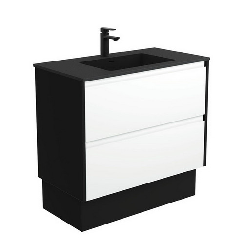 Montana 900 Solid Surface Moulded Basin-Top + Amato Satin White Cabinet on Kick Board with Satin Black Solid Side Panels 2 Drawer 1 Tap Hole [191713]
