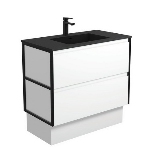 Montana 900 Solid Surface Moulded Basin-Top + Amato Satin White Cabinet on Kick Board with Matte Black Frames 2 Drawer 1 Tap Hole [191715]