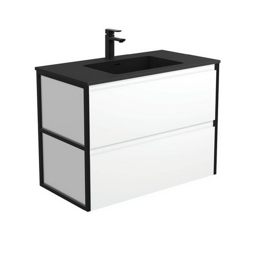 Montana 900 Solid Surface Moulded Basin-Top + Amato Satin White Cabinet Wall-Hung with Matte Black Frames 2 Drawer 1 Tap Hole [191716]